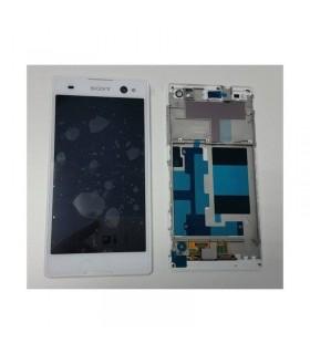 Ecrã completa Tactil lcd e marcoSony Xperia C3 D2502, D2533, M50W branca