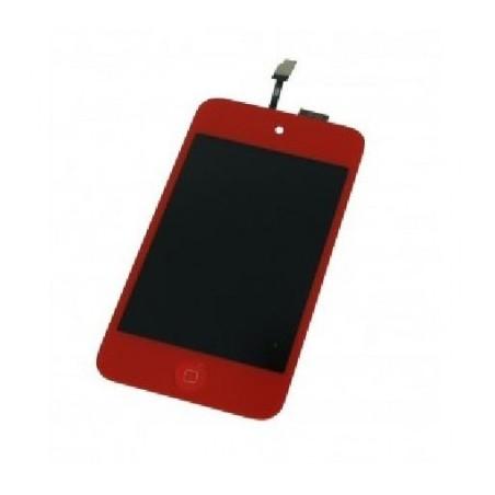 ECRÃ tactil + LCD+ boton home para iPod Touch 4 rojo
