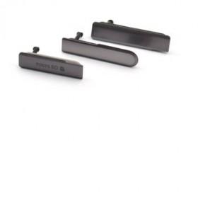 set de 3 Tapa Lateral para Sony Xperia Z1 Compact en negro