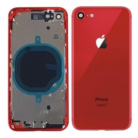 chasis iPhone 8, iPhone SE 2020 (tapa trasera con logo + marco) rojo
