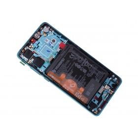 Pantalla original Huawei P30 Azul (Aurora) con marco y bateria