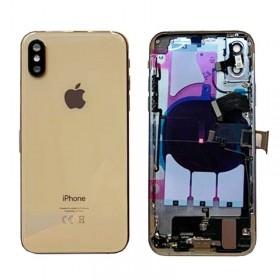 chasis iphone XS completo con componentes (tapa trasera con logo + marco) dorado