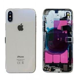 chasis iphone XS completo con componentes (tapa trasera con logo + marco) plata