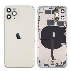Chasis iPhone 11 Pro Max (carcasa tapa trasera con logo + marco) Blanco/ plata