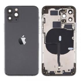 Chasis iPhone 11 Pro Max (carcasa tapa trasera con logo + marco) Negro