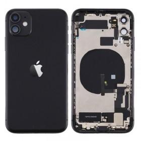 Chasis iphone 11 (carcasa tapa trasera con logo + marco) Negro