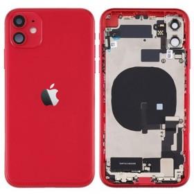 Chasis iphone 11 (carcasa tapa trasera con logo + marco) Rojo