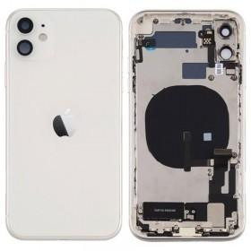 Chasis iphone 11 (carcasa tapa trasera con logo + marco) Blanco/ Plata