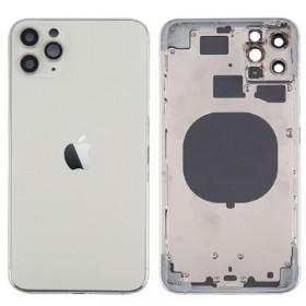 Chasis sin componentes iphone 11 pro max (carcasa tapa trasera con logo + marco) Blanco/ Plata