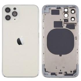 Chasis sin componentes iphone 11 pro (carcasa tapa trasera con logo + marco) Blanco/ Plata
