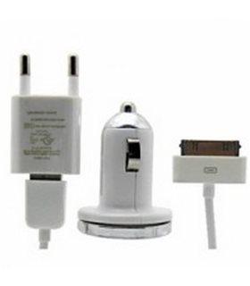 Kit 3 en 1 (cargador red + cargador mechero + cable) iphone 4