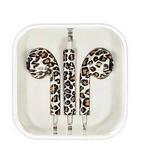 Fone de ouvidoes Cascos com Micrófono e Control Volume iphone, estampado leopardo