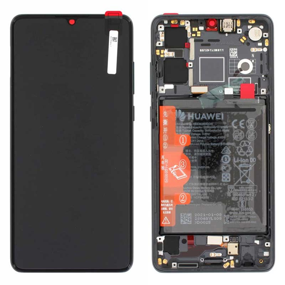 Pantalla original con marco y bateria Huawei P30 New Edition Negro