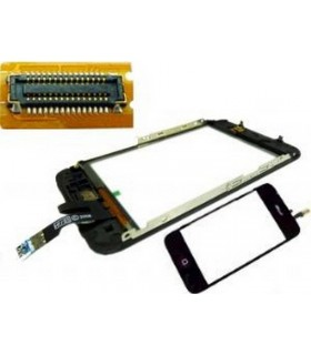 iPhone 3Gs pantalla tactil digitalizadora, ventana display, con marco metalico y boton menu con flex