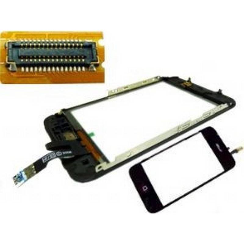 iPhone 3Gs ecrã tactil digitalizadora, ventana display, com marco metalico e boton menu com flex