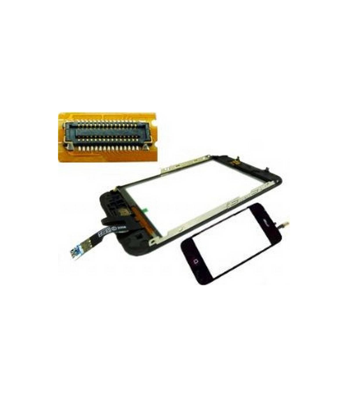 iPhone 3Gs pantalla tactil digitalizadora, ventana display, con marco metalico y boton menu con flex