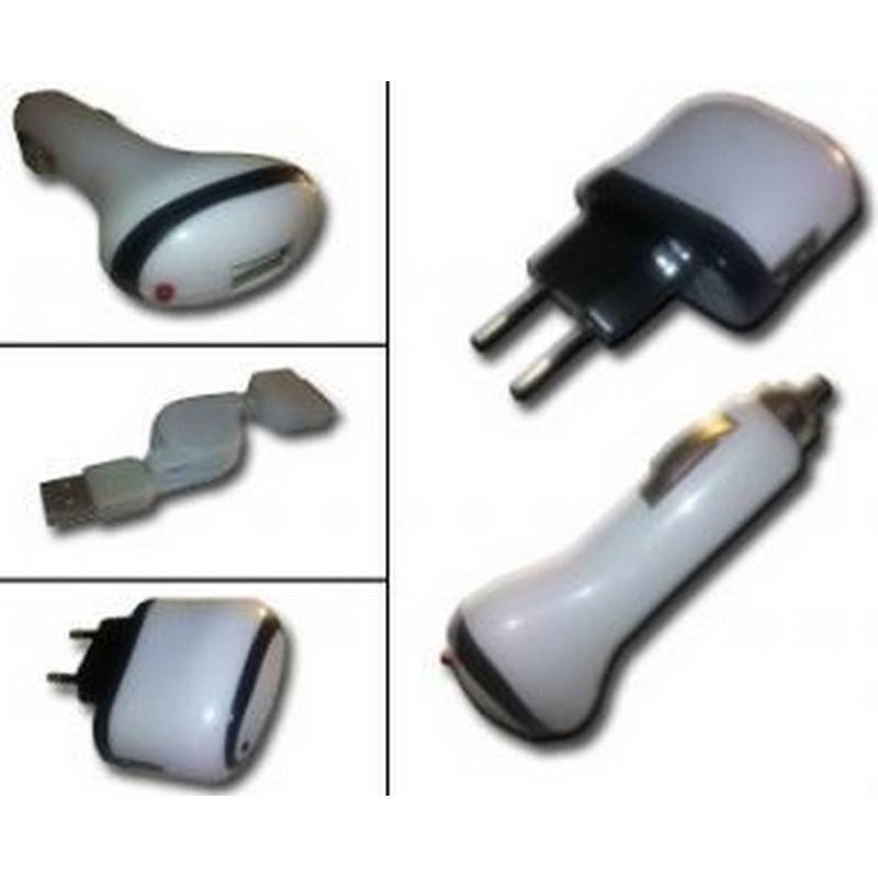 iPhone 2G, iPhone 3G Carregador universal e cabo de datos USB, red, vehiculo coche e USB.