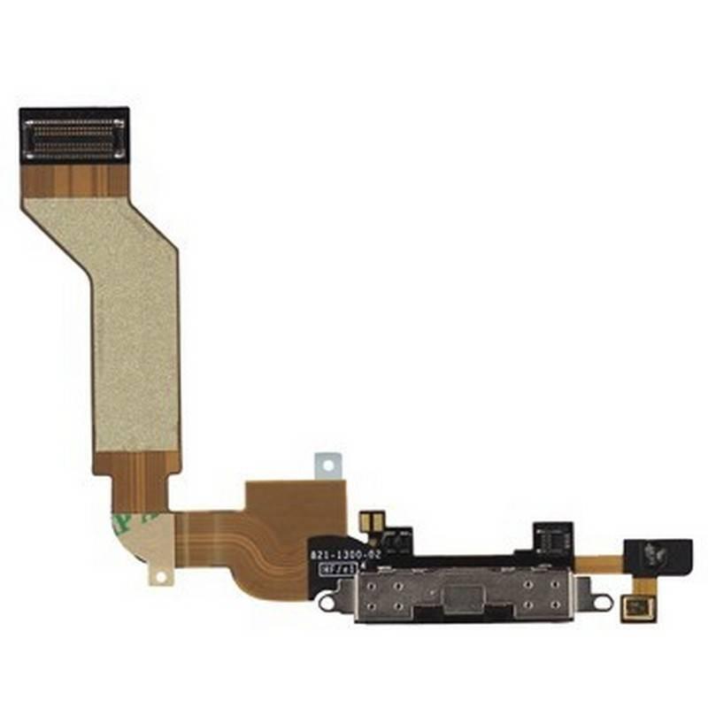 Conector de carga iPhone 4S negro con micrófono