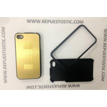 Funda iPhone 4G/S de 2 partes, de metal, color oro