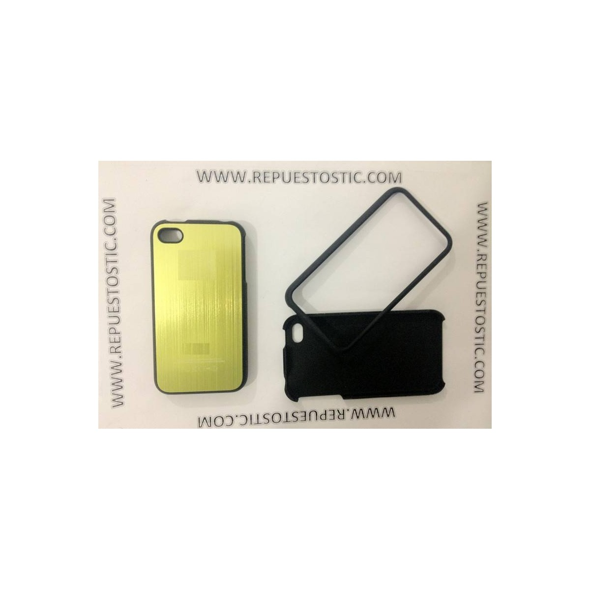 Funda iPhone 4G/S de 2 partes, de metal, color verde