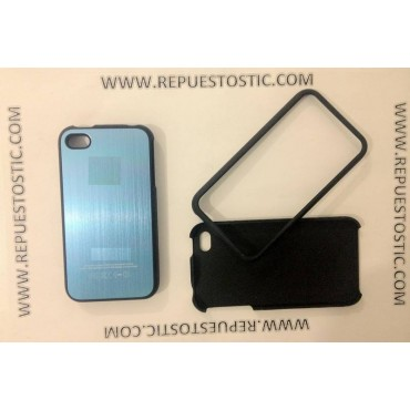 Funda iPhone 4G/S de 2 partes, de metal, color azul clarito