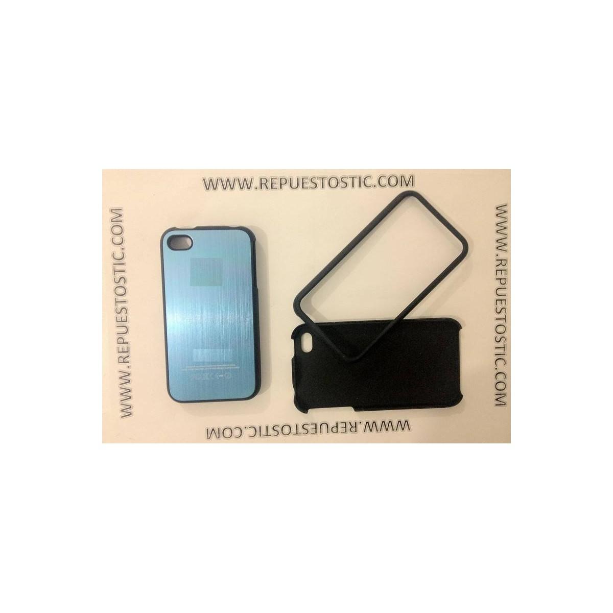 Funda iPhone 4G/S de 2 partes, de metal, color azul clarito