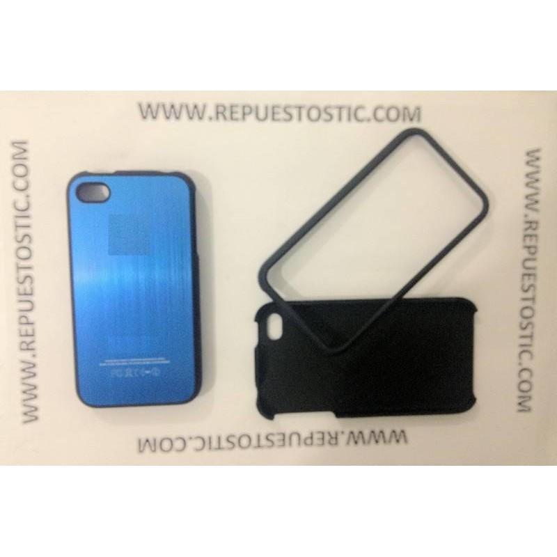 Funda iPhone 4G/S de 2 partes, de metal, cor azul oscuro