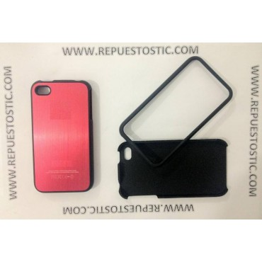 Funda iPhone 4G/S de 2 partes, de metal, color rojo