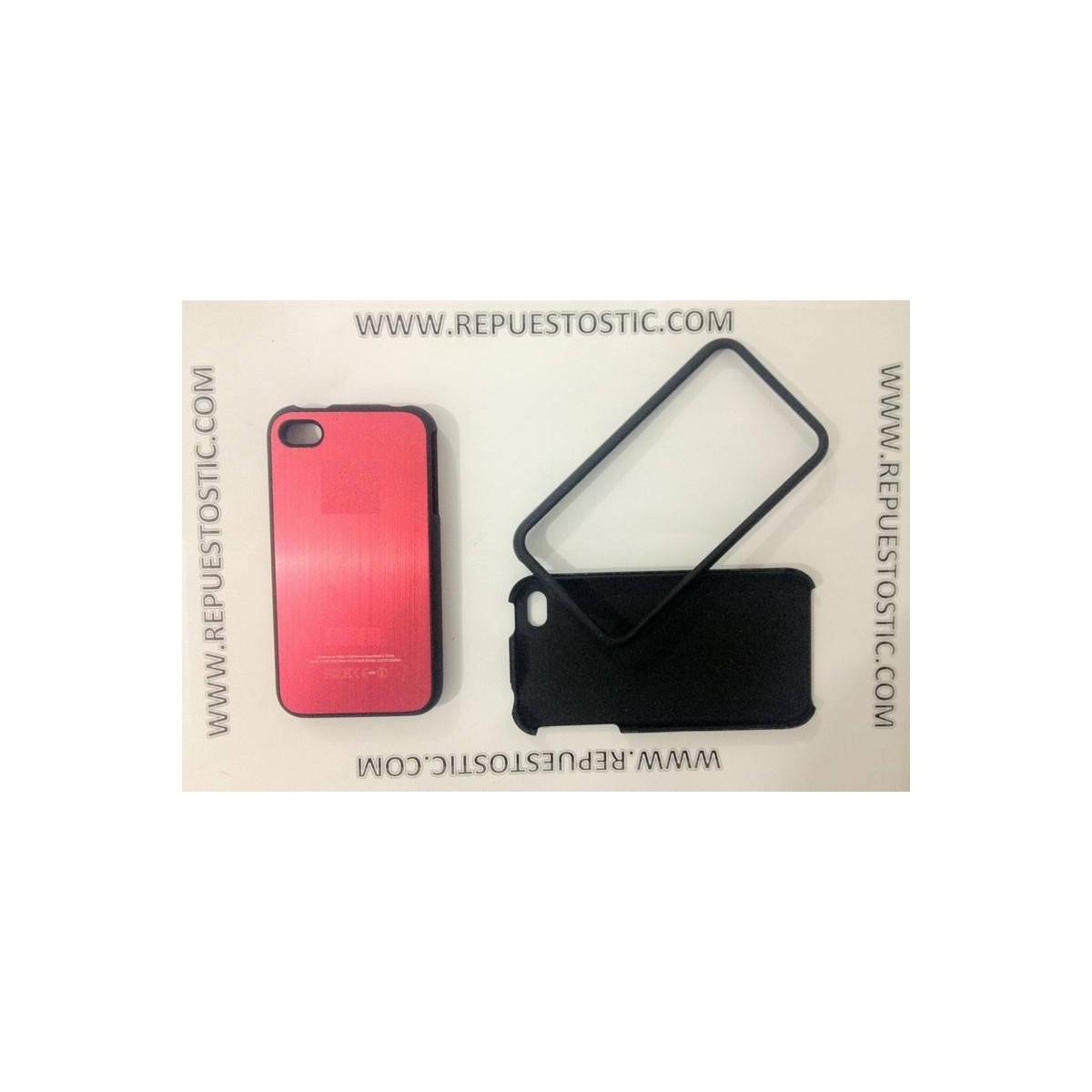 Funda iPhone 4G/S de 2 partes, de metal, color rojo