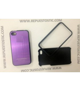 Funda iPhone 4G/S de 2 partes, de metal, color morado