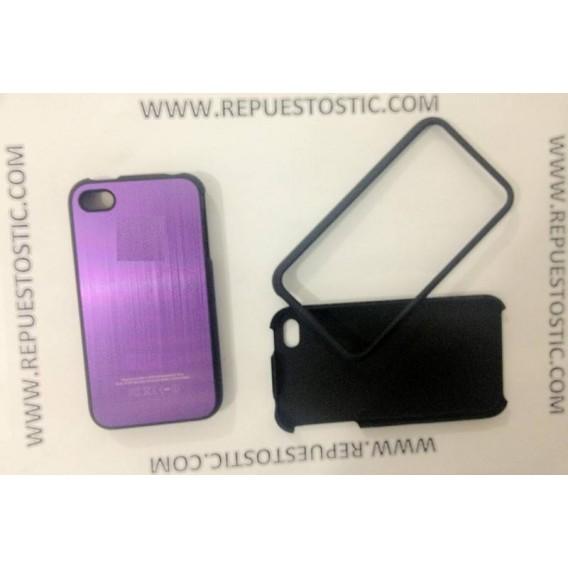 Funda iPhone 4G/S de 2 partes, de metal, color morado