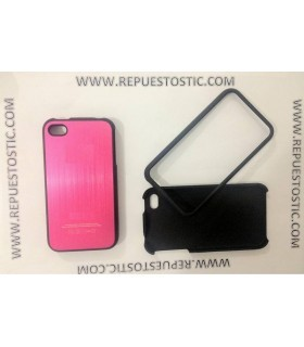 Funda iPhone 4G/S de 2 partes, de metal, cor rosa