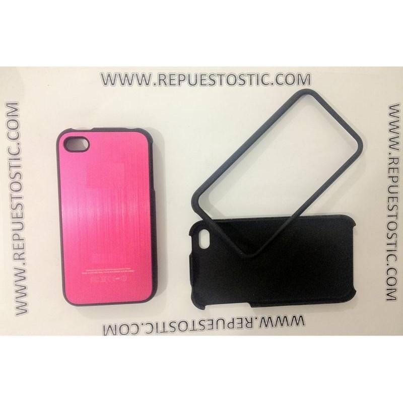 Funda iPhone 4G/S de 2 partes, de metal, color rosa