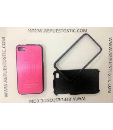 Funda iPhone 4G/S de 2 partes, de metal, color rosa