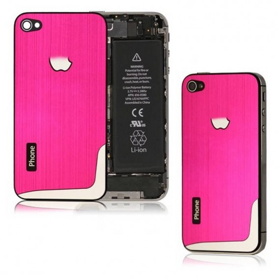 iPhone 4Gs carcasa, tapa bateria de metal ROSA