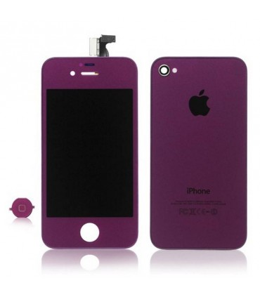 KIT RECAMBIO Ecrã (Display) COMPLETA + tapa traseira + boton home para iPhone 4S em cor PURPURA