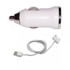 2 en 1 CABLE USB + CARGADOR COCHE USB PARA IPHONE 4 4S 3G 3GS ipod ipad