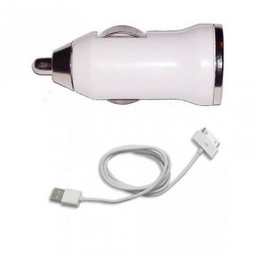 2 en 1 CABLE USB + CARGADOR COCHE USB PARA IPHONE 4 4S 3G 3GS ipod ipad