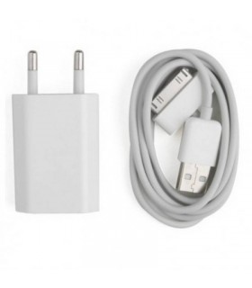 2 en 1 cable USB + cargador de Red USB para iPhone, IPAD, iPod