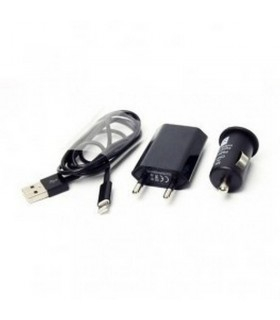 Cargador 3 en 1 Coche/Red/USB para Iphone 5 Negro