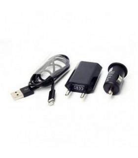 Cargador 3 en 1 Coche/Red/USB para Iphone 5 Negro