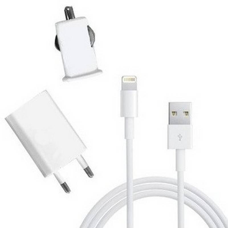 Carregador 3 em 1 Coche/Red/USB para Iphone 5. branco