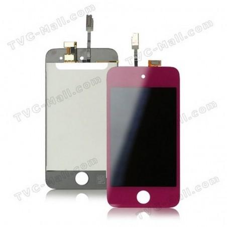 pantalla tactil + lcd+ boton home para ipod touch 4 rosa fucsia