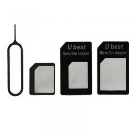 NANO A MICRO/NORMAL SIM TARJETA ADAPTADOR para Apple iPhone 5 4S 4G 3GS 3G NEGRO