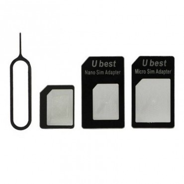 NANO A MICRO/NORMAL SIM TARJETA ADAPTADOR PARA APPLE IPHONE 5 4S 4G 3GS 3G NEGRO
