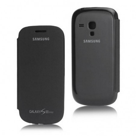 FUNDA con tapa Samsung Galaxy S3 MINI I8190 negra